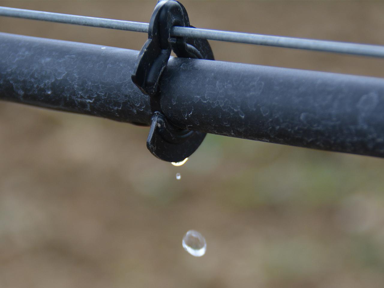 Die Bewässerungsanlage verteilt das Wasser über Tropfleitungen gleichmäßig im Weinberg