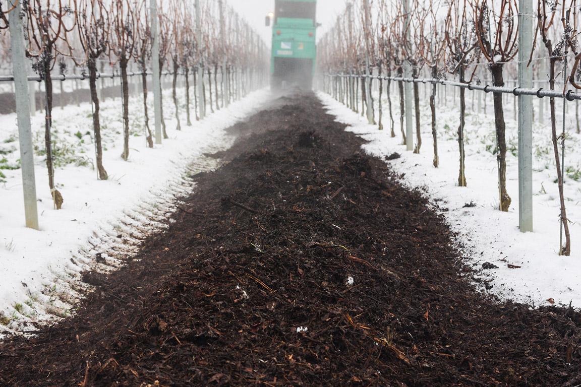 Einbringen der organischen oder mineralischen Düngung in den Weinberg